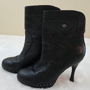Harley Davidson Sz 9.5 Black Leather Heeled Boots